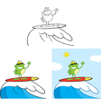 Cartoon frog surfing vector image vector image