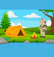 cartoon scout with tent and fire vector image vector image