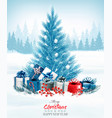 christmas holiday background with a blue tree vector image vector image