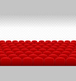 cinema theatre rows of red velvet seats with vector image vector image