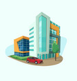 cityscape icon with modern shopping center office vector image vector image