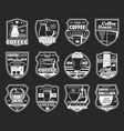 coffee icons with espresso machine hot drink cups vector image vector image