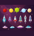 cosmos and ufo flat set vector image