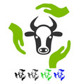 cow care hands flat icon vector image vector image