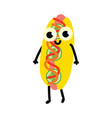 cute flat hotdog character isolated icon vector image