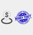 dot bank location icon and grunge money vector image vector image