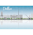 Dublin Skyline with Grey Buildings vector image