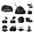 farm and agriculture black icons in set collection vector image