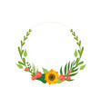 Floral wreath with flowers and leaves design