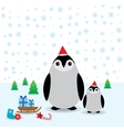 Funny penguins in the red hat christmas winter vector image vector image