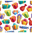 gifts and presents boxes seamless pattern vector image