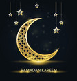 golden crescent with arabic pattern - ramadan vector image vector image