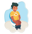 hand drawn boy sitting on toilet vector image vector image