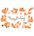 happy birthday card with cute squirrels in a vector image vector image