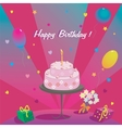 Happy Birthday Gifts cake ballons and stars vector image vector image