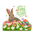 happy easter hello spring background with grass vector image vector image