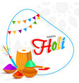 happy holi celebration background with drum vector image vector image