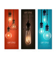 light bulbs vintage style vertical banners vector image