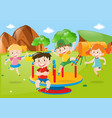 many kids playing at playground vector image vector image