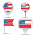 Map pins with flag of United States of America vector image
