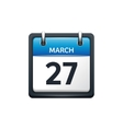 March 27 Calendar icon flat vector image vector image