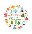 merry christmas round banner template with vector image