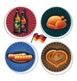 oktoberfest labels with beer and snacks vector image