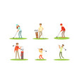 people playing golf set men and women golfer vector image