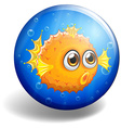 Puffer fish on round badge vector image vector image