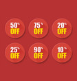 sale tags set badges template 10 off 20 25 50 75 vector image