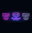 seafood restaurant neon sign seafood daily vector image vector image