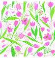 seamless pattern of cute stylish tulips vector image vector image