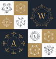 set elegant monogram design vector image