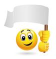 smiley emoticon waving big blank flag smiley vector image vector image