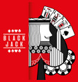 spade king black jack cards gamble chips red vector image