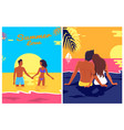summer love posters set with couple love on beach vector image vector image