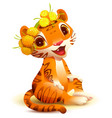 tiger cub sits and smiles symbol 2022 vector image vector image