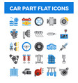 vehicle and car parts flat icons pixel perfect vector image