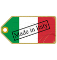 Vintage label with the flag of Italy vector image vector image