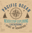 vintage sailing typography for t-shirt print vector image vector image