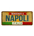 welcome to naples in italian languagevintage vector image vector image