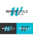 white smile logo letter w logo logo vector image