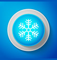 white snowflake icon isolated on blue background vector image