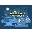 Winter night children play vector image