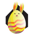 yellow easter rabbit in form of an egg web on a vector image vector image