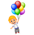Young boy cartoon flying with balloon vector image vector image