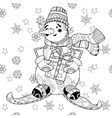 Zentangle doodle hand drawn Christmas Snowman ski vector image