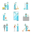 Workers Providing Cleaning Service In Blue Uniform vector image