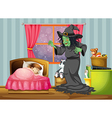 A witch looking at the girl sleeping inside the vector image vector image
