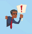 angry businessman with exclamation mark signs vector image